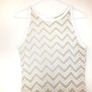 Gold and White Chevron Sleeveless Maxi Dress